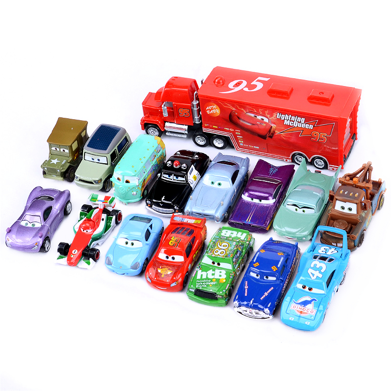 Disney pixar cars 2 3 toy car set lightning mcqueen mack uncle truck rescue collection 1:55 diecast model car toy children gift