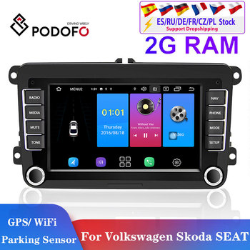 Podofo 2din Android car radio for Volkswagen Multimedia Player 2din android autoradio for VW/Tiguan/Passat/SEAT/Skoda/Octavia image