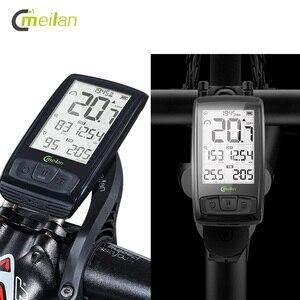 Беспроводной велосипедный Спидометр Meilan M4 и S1, задние фонари, тахометр, пульсометр, датчик частоты вращения педалей, Водонепроницаемый Секу...