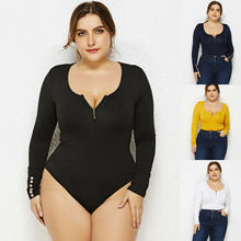 Goocheer XL-6XL Large Size Women Long Sleeve Solid Sexy Slim Bottoming Bodysuits New Plus Sheath Jumpsuits Romper Female