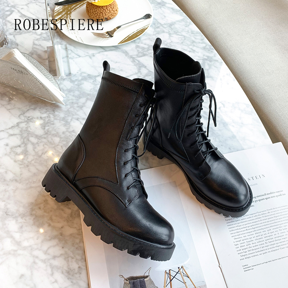 ROBESPIERE New Round Toe Ankle Boots Top Quality Cow Leaher Waterproof Warm Snow Boots Zipper Lace Up Platform Women 39 s Shoes B6 in Ankle Boots from Shoes