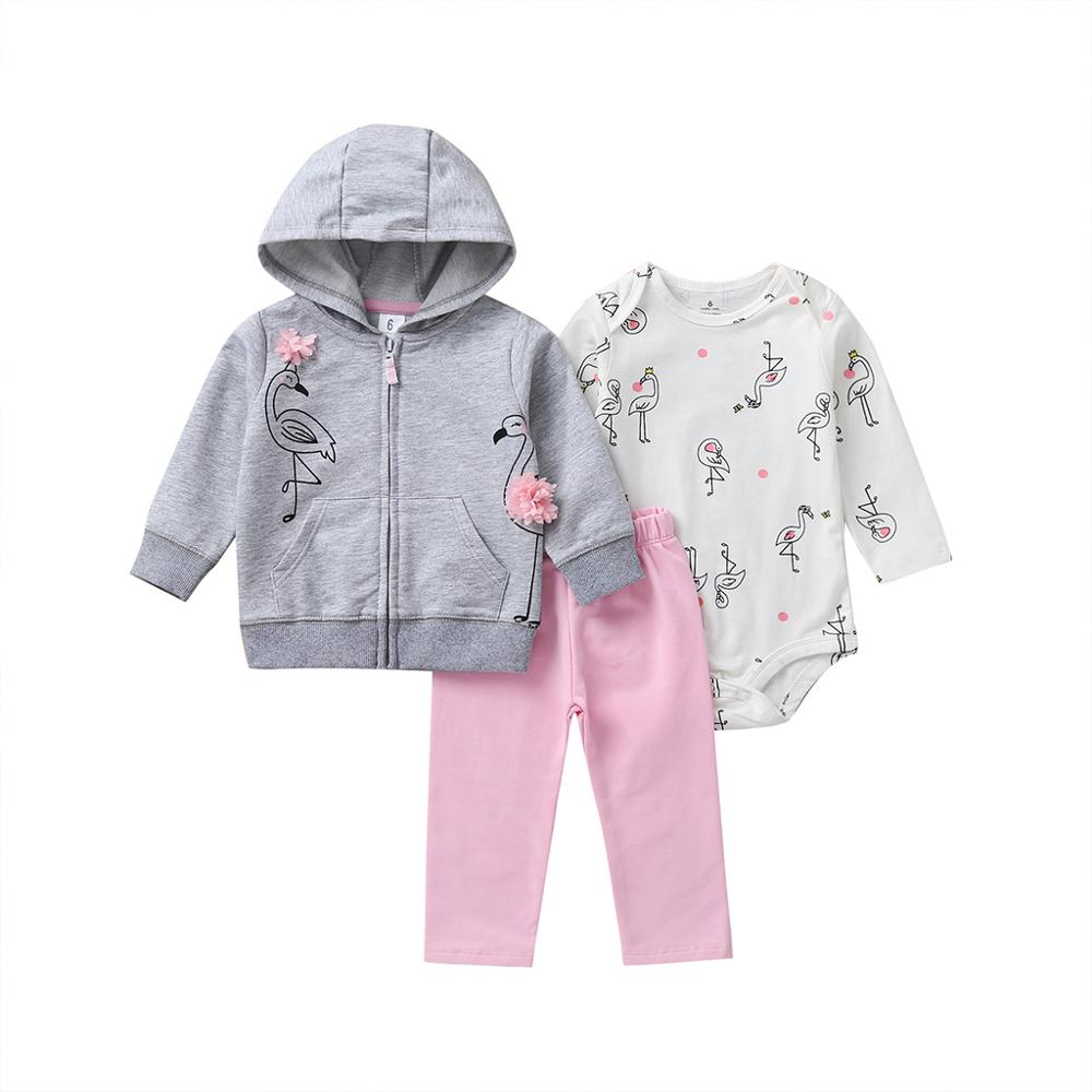 Baby Girl Clothing sets for Autumn Hoodie Long sleeve Bodysuit soft cotton Pants 3 Pieces jacket set 6M 24M Size