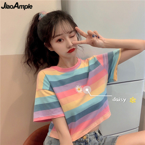 2020 Korean Loose Fashion Daisy Short T-shirt Girls Student Leisure Cozy Stripe Tops Summer Sweet Women Short Sleeve Clothing