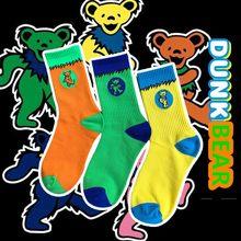 Vintage estilo tripulação meias ursos agradecidos original dunk dança urso sb verde amarelo laranja azul rua moda sbs deadhead gd