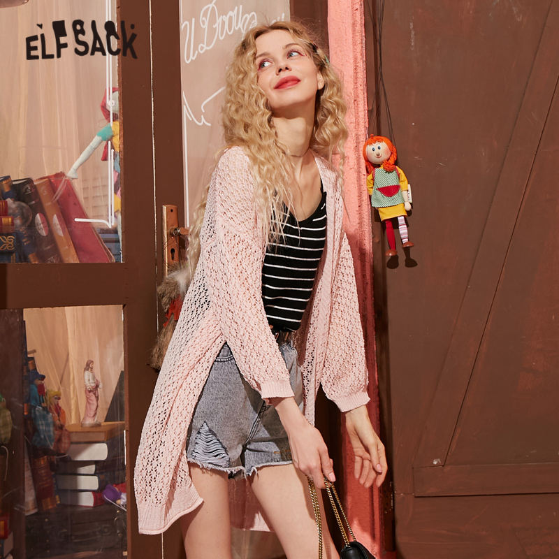 ELFSACK White Solid Cut Out Single Breasted Knit Women Cardigans 2020 Spring Pink Pure Lantern Sleeve Korean Female Thin Tops