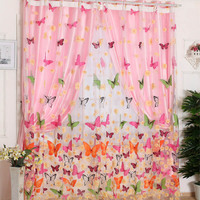 2 M Children's Room Romantic Butterfly gauze curtain Kitchen Living Room Window Curtain  Home Bedroom Decor Embroidered Sheer