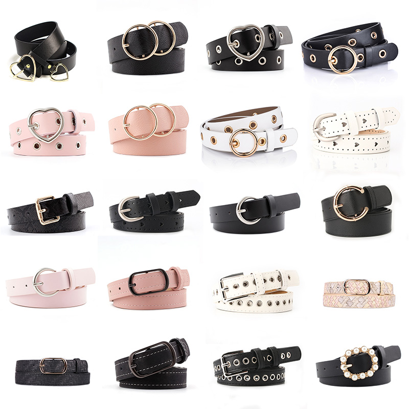 Hot Fashion Women PU Belt 66 Styles Metal Buckle Waistband Designer Student Wild Jeans Dress Long Waist Strap Cinturon Mujer