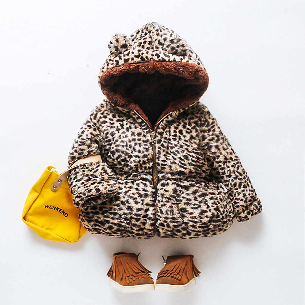 Winter Toddler Baby girls Cute Hooded Coat Leopard Warm Outerwear Kids Jacket Clothes For Kids Coats For Newborn Fashion Clothes