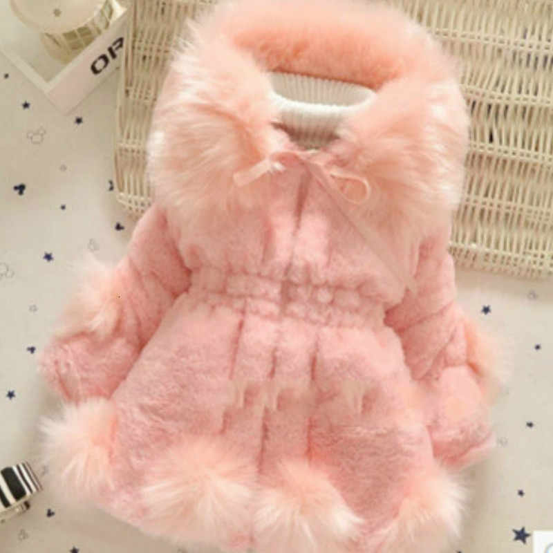 Baby Girls Lmitation Fur Coat 2019 New Winter Long Jacket Warm Sweater Children Big Fur Collar Thick Cotton Children's Clothing