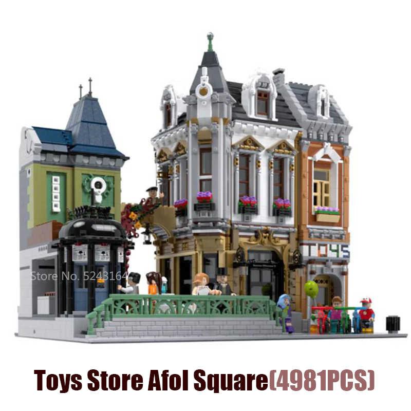 2021NEW Creative street view Современное кафе больница торт магазин игрушек Afol площадь Джокер-парк рождественское здание подарочные игрушечные блоки