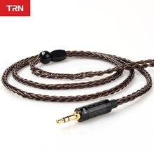 Cabo de cobre trn t4 8 core, fone de ouvido com cabo de cobre cristal único, conector 2pin/mmcx para trn vx v90 ba5 v80 para bl03 bq3 t4 t2 dt6