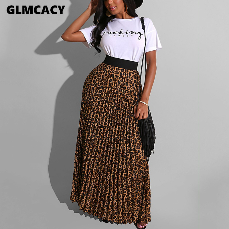 Women Casual Short Sleeve T Shirts Vintage Leopard Pleated Skirts Casual Ladies Two Piece Chic Suits Long Skirt