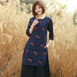 Baumwolle Leinen DAMEN Kleid Stickerei Pullover Chinesischen stil Handmade Frosch Frühling Tops Sowohl Seiten Slit Lange Hülse Kleidung