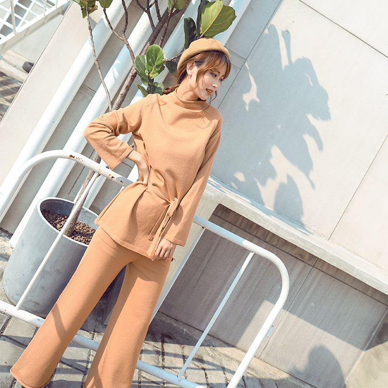 Two Piece Women Loose Coat Long Sleeve+Wide Leg Pants Trousers Casual Set