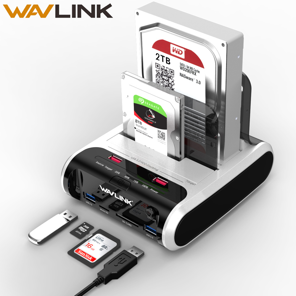 "Wavlink USB 3.0 To SATA Dual Bay External Hard Drive Docking Station For 2.5"" & 3.5""SSD HDD Fast Offline Clone&UASP Card Reader"