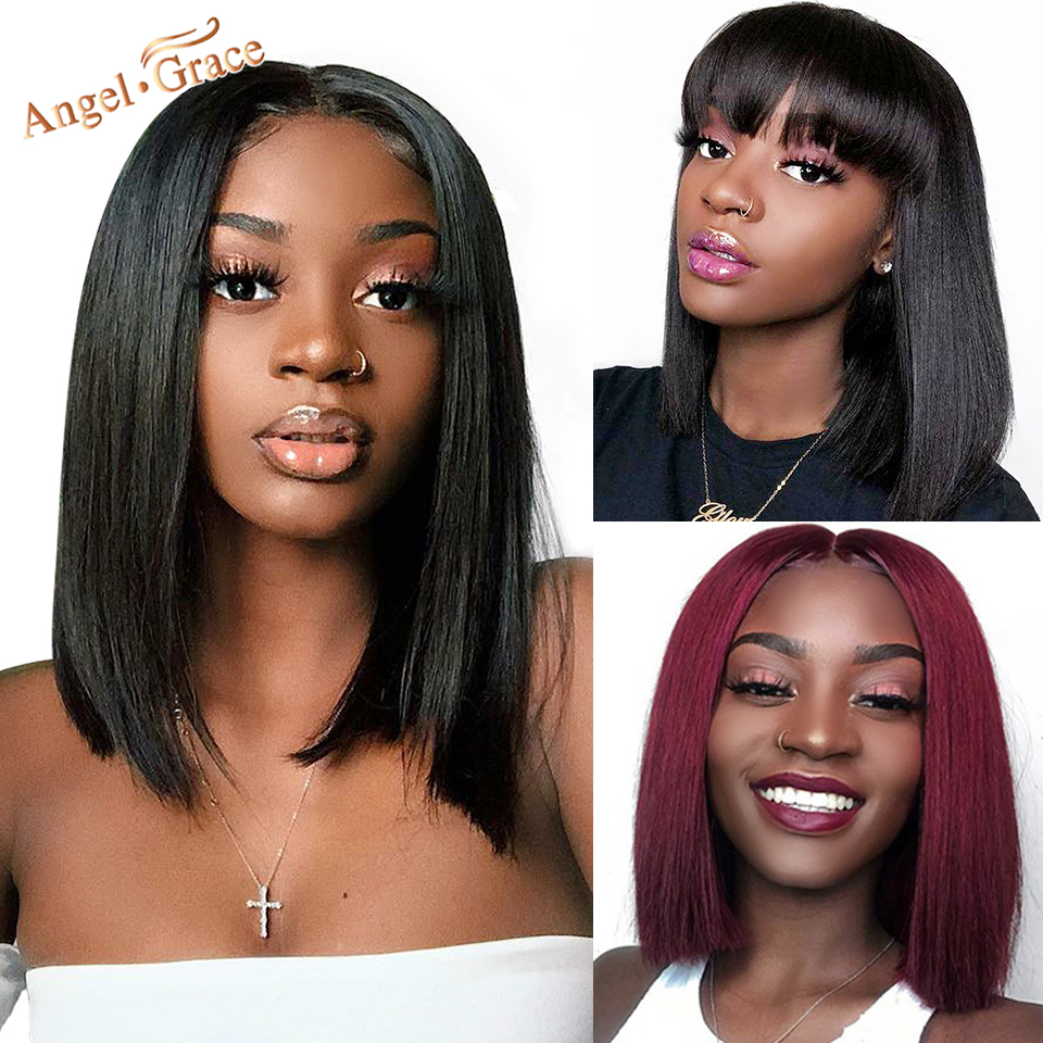 Angel Grace Bob Lace Front Wigs With Bangs 13X4 Brazilian Straight Lace Front Human Hair Bob Wigs Pre Plucked Closure Wigs Remy