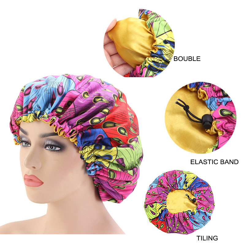 33cm Adjust Hair Styling Caps Print Large Sleep Fabric Hair Bonnet Satin Lined Sleep Cap Night Hat Ladies Hair Styling Tool