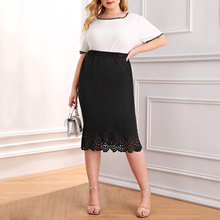 Fashion Plus Size Lace Skirt for Women Summer Natural Elastic Waist Casual Bodycon Vintage Straight Lady