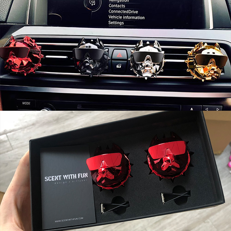 2PCS Bulldog Air Freshener Gift Box D-EPROJECT Car Perfume Refill Car Fragrance Bulldog Perfume Auto Vents Scent DIY Interior