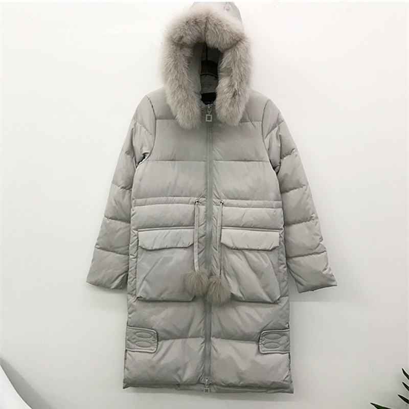 Down Winter Coat Real Fox Fur Collar White Duck Down Jacket Thick Women Parka Hooded Women's Jackets Abrigo Mujer WXF391 's S