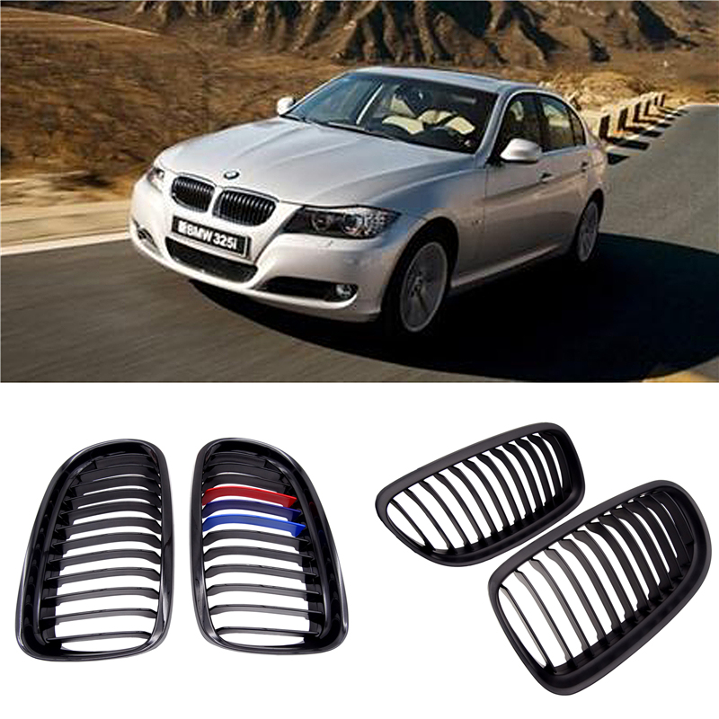 JIUWAN 1 Pair Gloss/Matte Black M-Color Kidney Front Grille Auto Racing Grille for BMW E90 E91 LCI 325i 328i 335i 2009 2010 2011