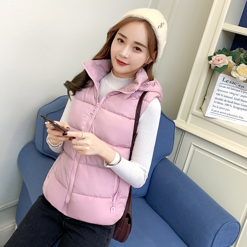 Down Feather Cotton Vest Female Short Autumn And Winter 2019 New Style Korean-style Solid Color Waistcoat Harajuku Wind Cotton-p