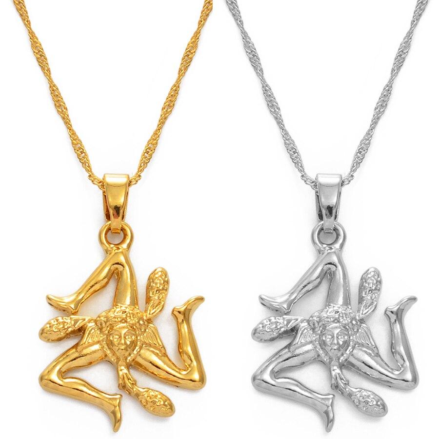 Anniyo Сицилия Италия кулон в форме флага ожерелья, серебро, Цвет/золото Цвет в итальянском стиле Сицилия ювелирные изделия #237106