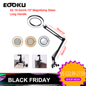EOOKU Flexible Desk 3 Colors LED Illuminated Table Lamp USB 8W 5X Magnifying Glass Light for Reading/Rework/Soldering