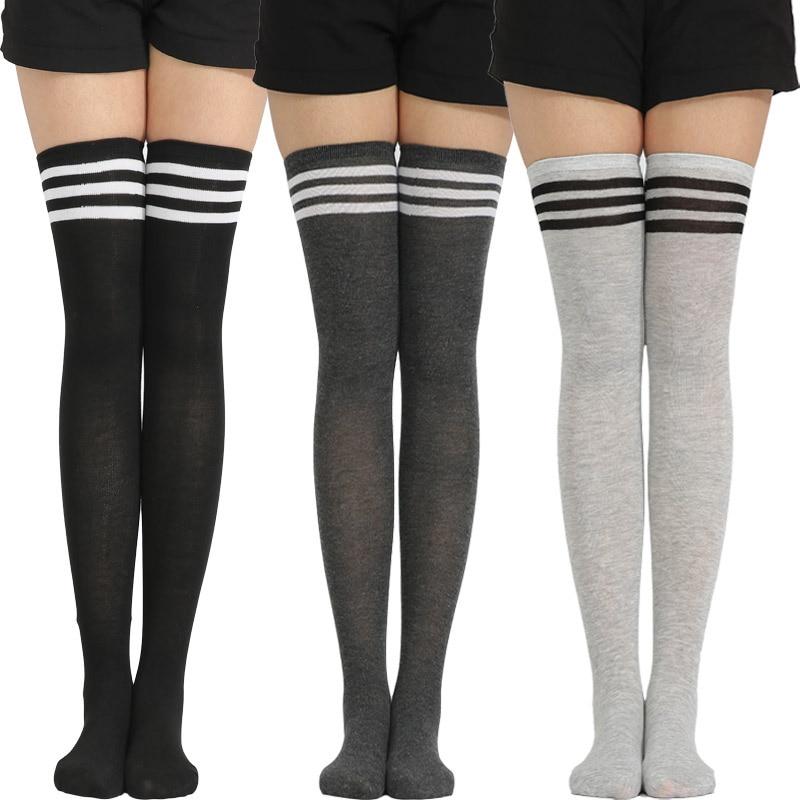 Fashion Women Striped fashion Thigh High Stockings Over Knee Socks Warm Long Socks spring Compression cotton Stocking Socks