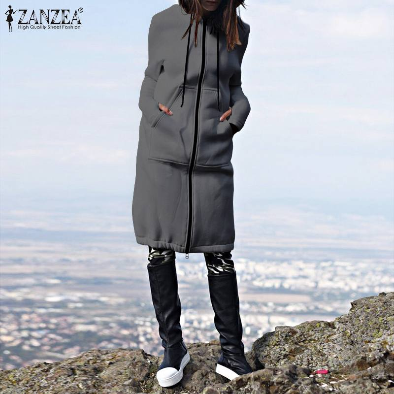 ZANZEA 2020 Autumn Winter CasuaL Women Long Hoodies Sweatshirt Coat Zip Up Outwear Hooded Jackets Plus Size Hooded Chaqueta 5XL