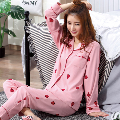 [Htc Sheng] Spring And Autumn Cardigan Red Strawberry Pajamas Women's Spring And Autumn Double-Sided Qmilch M -Xxl