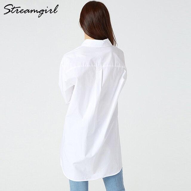 White Blouse Shirts Women Cotton Tunics Plus Size Long Tops White Button Shirt Feminine Blouses Spring Oversize Shirts Blouses 3