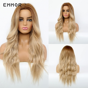 EMMOR Long Middle Part Ombre Ash Blonde Body Wave Synthetic Hair Wigs for White black Women Cosplay Heat Resistant Fibre Wig wignee hand made front ombre color long blonde synthetic wigs for black white women heat resistant middle part cosplay hair wig
