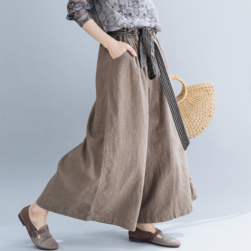 Johnature Spring New Cotton Linen Plus Size Women   Wide     Leg     Pants   Casual Women Solid Color Elastic Wiast Full-length   Pants   2019