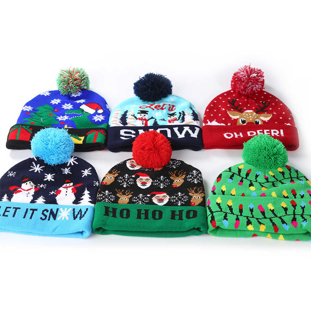 Cartoon Christmas Hat Designs LED Christmas Sweater Cap Santa Light Knitted Hat Party Decoration New Year Gifts