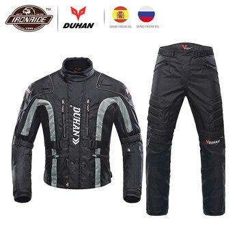 DUHAN Motorcycle Jacket Kits Windproof Protective Gear Jacket + Pants Set Hip Protector Riding Suit Motorcycle Pants Moto Jacket