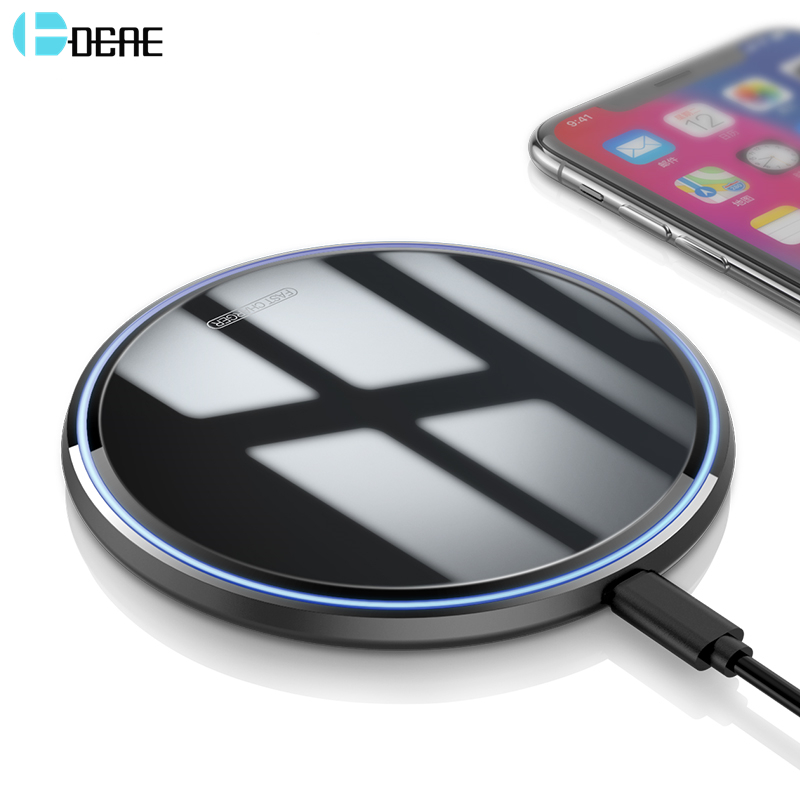 DCAE 10W Qi Wireless Charger For IPhone 11 Pro X XS Max XR 8 Mirror QC 3.0 Fast Charging Pad For Samsung S10 S9 S8 Note 10 9 8