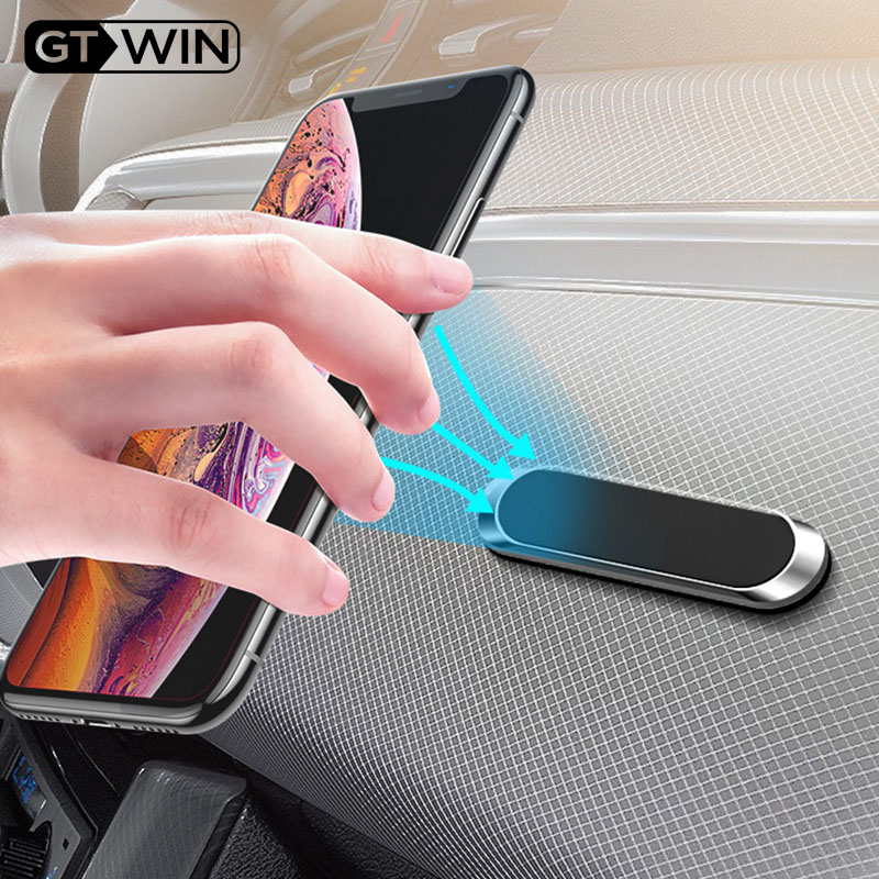 GTWIN Mini Strip Shape Magnetic Car Phone Holder Stand For IPhone Samsung Xiaomi Zinc Wall Metal Magnet GPS Car Mount Dashboard