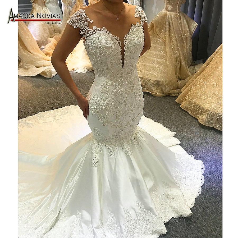 2019 New Satin Mermaid Wedding Dress With Lace Africa Weddings