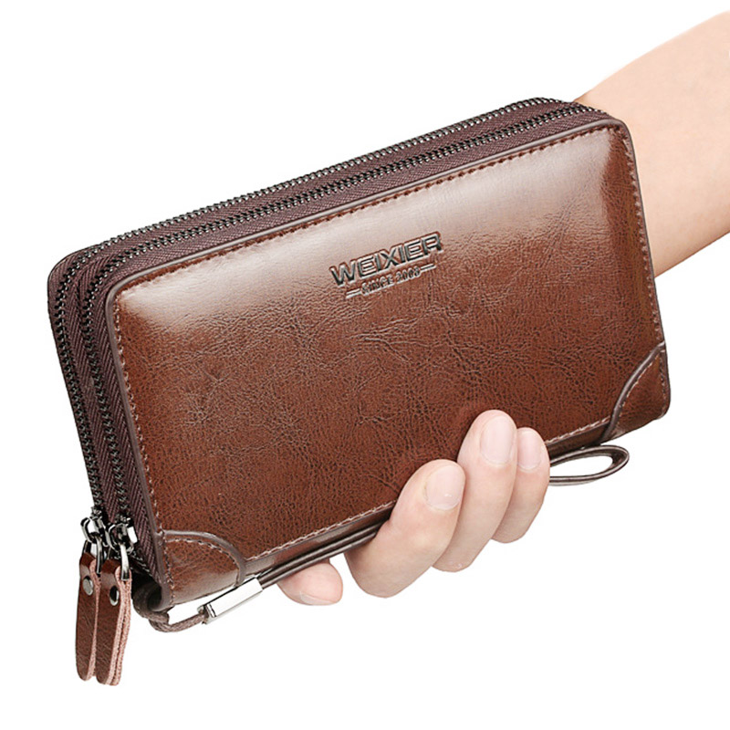 2019 Long Wallet Men Double Zipper Coin Pocket Men Wallet Purse Casual Business Card Holder Vintage Large Wallet Male Clutch Bag