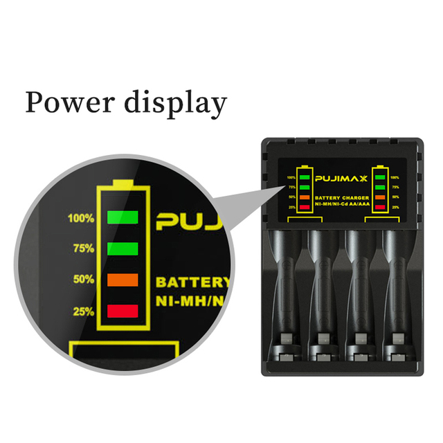 PUJIMAX 4 Slots Electric Battery Charger Intelligent Fast LED Indicator USB Charger For AA/AAA Ni-MH/Ni-Cd Rechargeable Battery 3