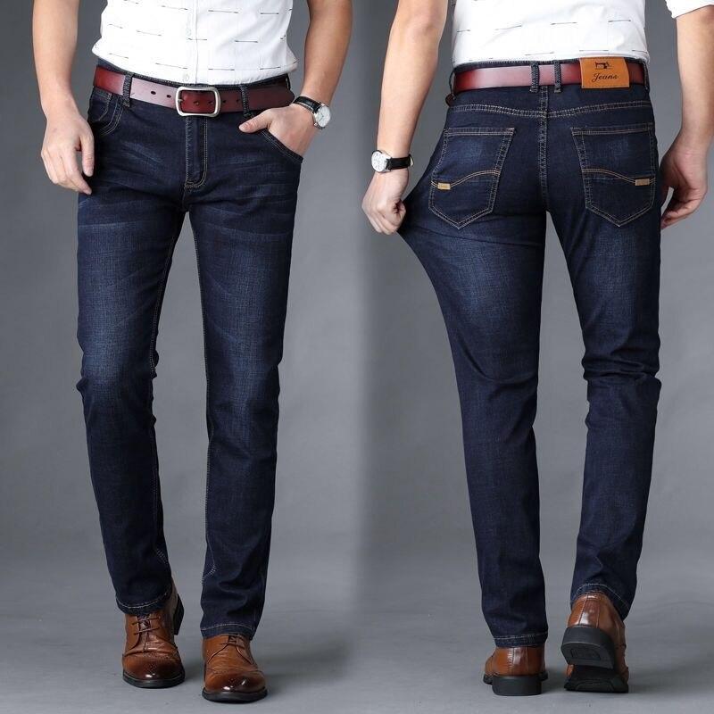 2020 FASHION Men Jeans Business Casual Straight Slim Fit Blue Jeans Stretch Denim Pants Trousers Classic Big Size 29-42
