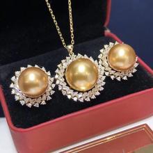غرامة مجوهرات نقية 925 فضة الطبيعية المياه العذبة اللؤلؤ الذهبي 9 13 مللي متر الإناث المجوهرات مجموعات للنساء غرامة مجوهرات مجموعات