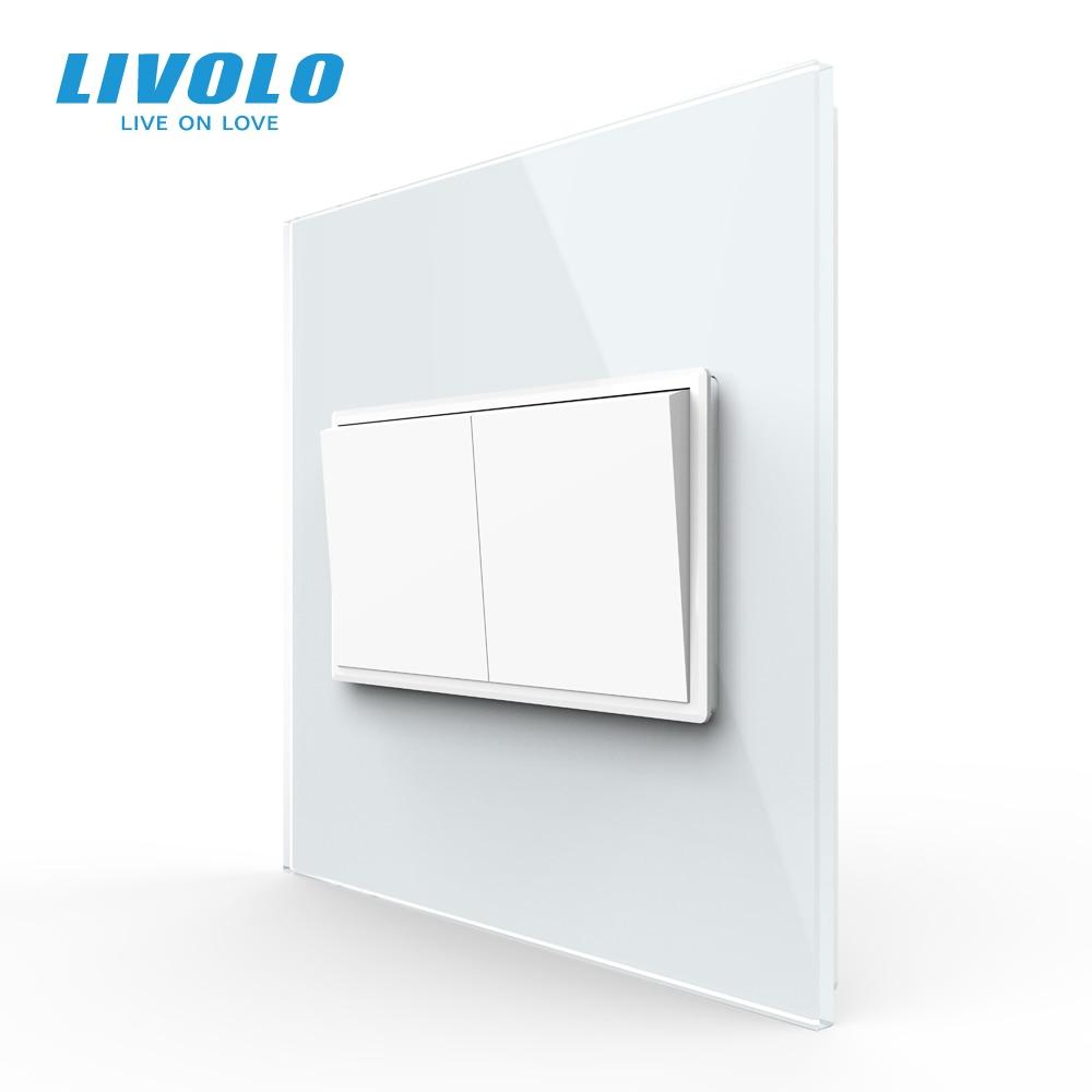 Livolo US AU Standard 90mm Luxurious Telephone Com TV  SATV Aiduo Socket, White Pearl Crystal Glass Panel, Socket Plugs
