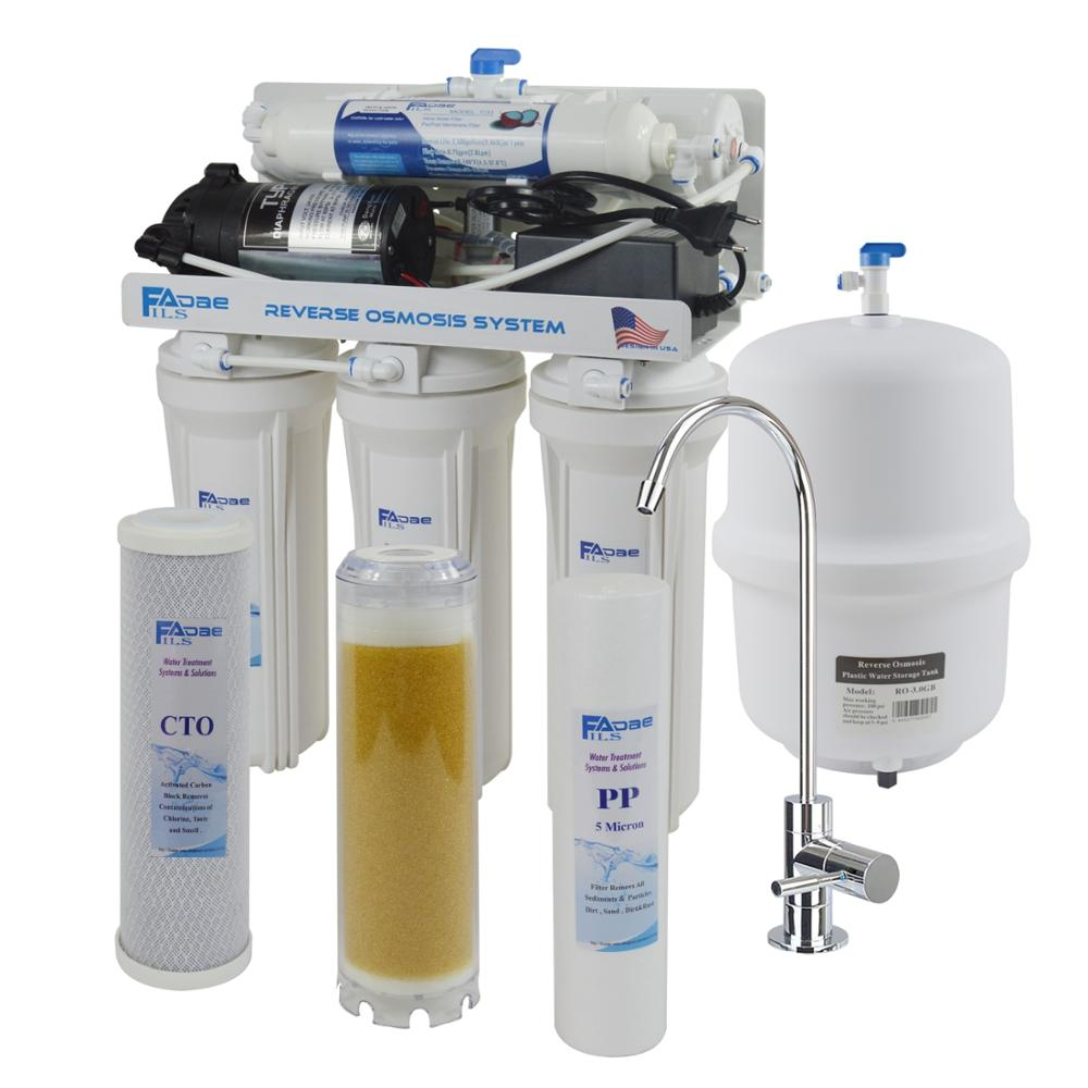 5 stage household reverse osmosis drinking water filtration system 75gpd under sink home water softener with ion exchange resin