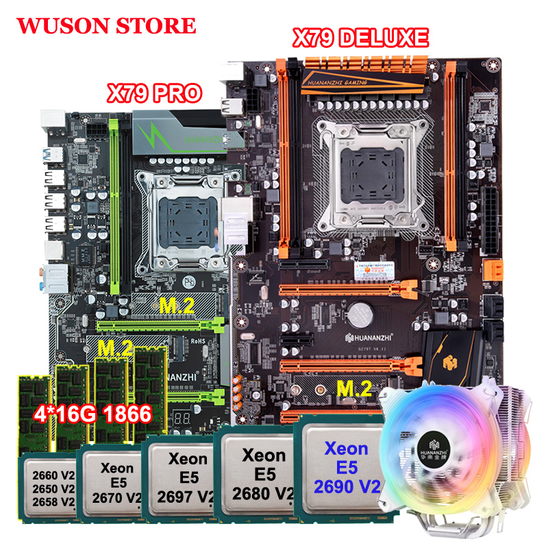 Brand Motherboard Set DIY HUANANZHI X79 Motherboards Bundle With Xeon Processors 2690 V2 CPU Cooler RAM 64G(4*16G) 1866 REG ECC