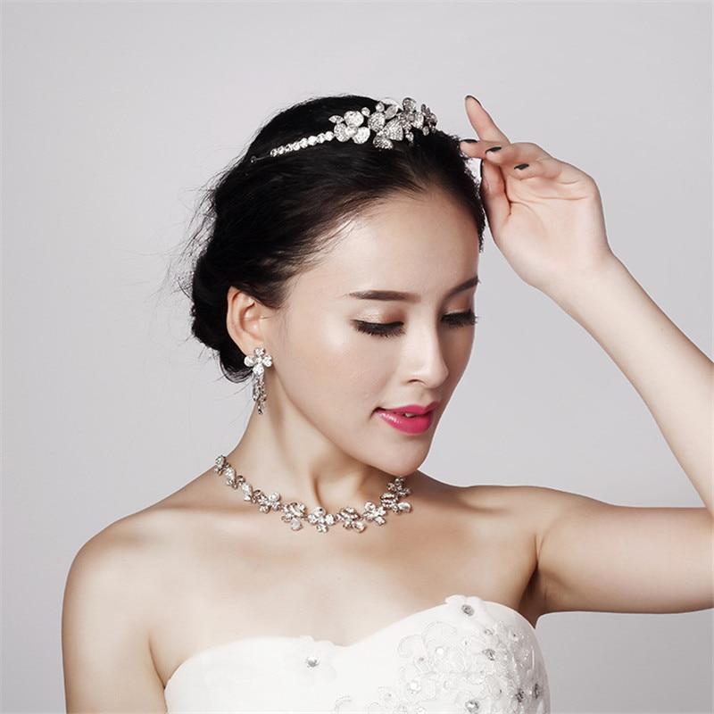 CC Jewelry Sets Necklace Stud Earring Pendant Wedding Accessories For Women's Earrings Elegant Crystal Flower Shape Party TL115