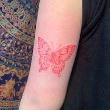 Borboleta vermelha corpo braço cintura temporária tatuagem adesivos para homens mulher falso tattos festa flash decalques à prova dwaterproof água tatoos