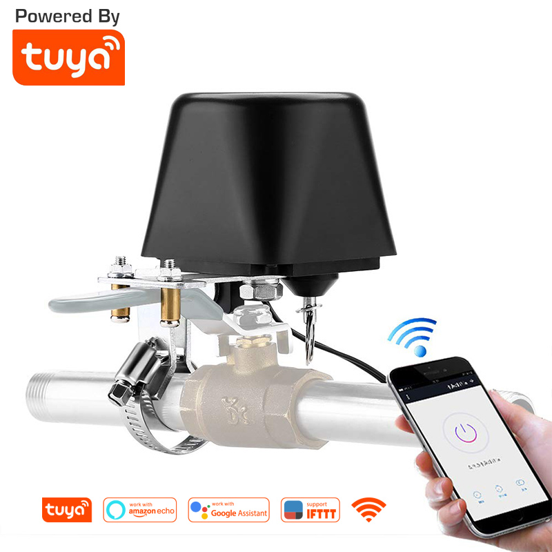 Tuya Amazon Alexa Google Assistant IFTTT Smart Wireless Control Gas Water Valve Smart Life WiFi Shutoff Controller