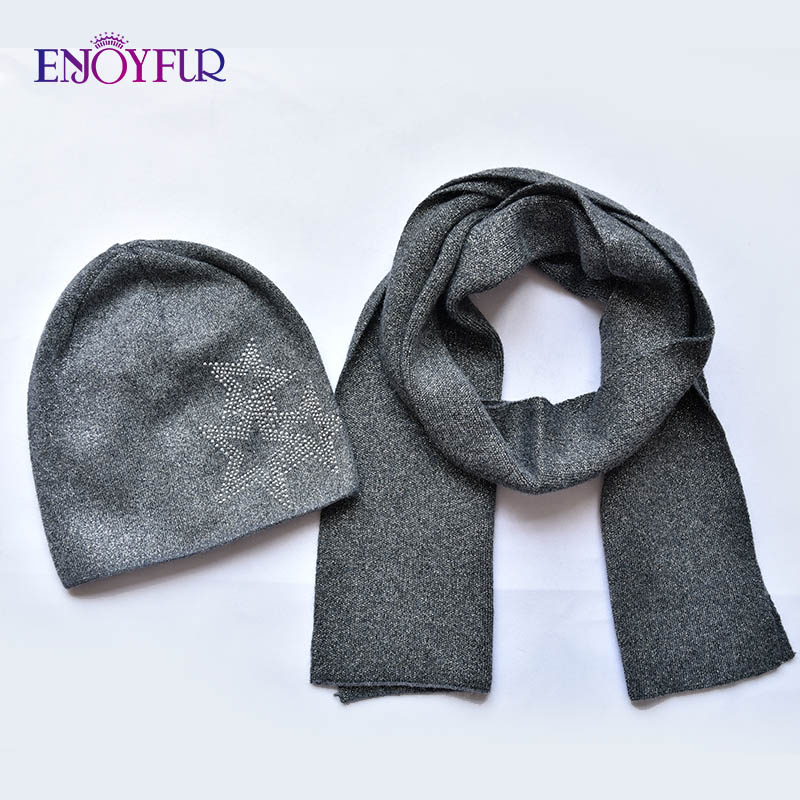 ENJOYFUR Fashion Soft Women Winter Autumn Hat And Scarf Set High Quality Female Warm Knitted Hat Scarves